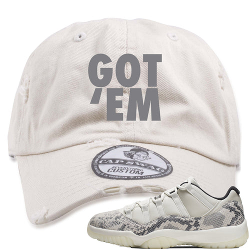 Air Jordan 11 Low Snakeskin Light Bone Sneaker Match Got Em Stone Distressed Dad Hat