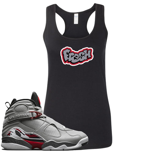 Air Jordan 8 Reflections of a Champion Sneaker Match Fresh Logo Black Womens Tank Top