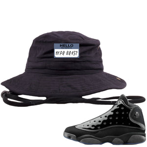 Air Jordan 13 Cap and Gown Sneaker Hook Up Hello My Name is Hype Beast Woe Style Black Bucket Hat