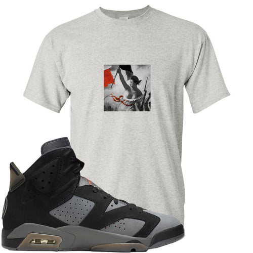 Air Jordan 6 PSG Sneaker Match Liberty Leading The People Sports Grey T-Shirt