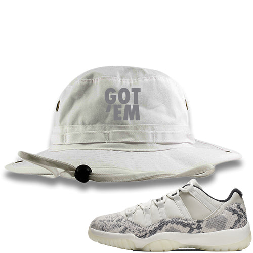 Air Jordan 11 Low Snakeskin Light Bone Sneaker Match Got Em White Bucket Hat