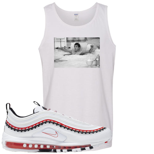 Nike Air Max 97 White University Red Sneaker Match Bathtub Scarface White Mens Tank Top