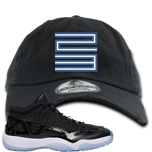 Air Jordan 11 Low IE Space Jam Sneaker Hook Up 23 Black Distressed Dad Hat