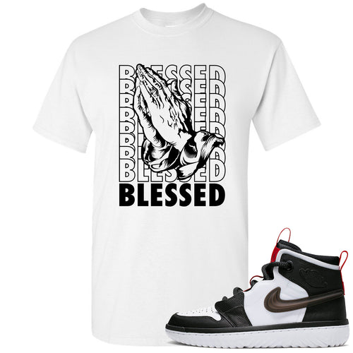 Air Jordan 1 High React White Black Sneaker Match Blessed Praying Hands White T-Shirt