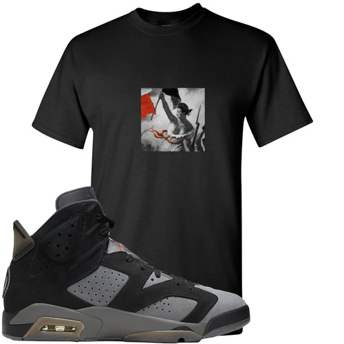 Air Jordan 6 PSG Sneaker Match Liberty Leading The People Black T-Shirt