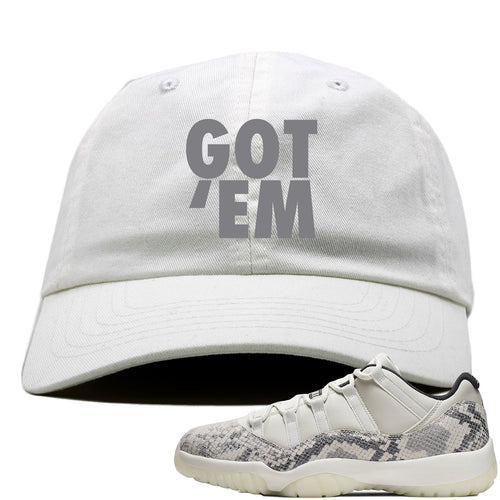 Air Jordan 11 Low Snakeskin Light Bone Sneaker Match Got Em White Dad Hat