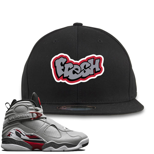 Air Jordan 8 Reflections of a Champion Sneaker Match Fresh Logo Black Snapback