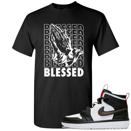 Air Jordan 1 High React White Black Sneaker Match Blessed Praying Hands Black T-Shirt