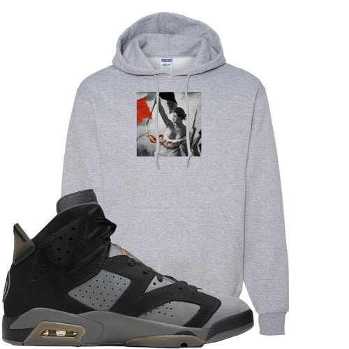 Air Jordan 6 PSG Sneaker Match Liberty Leading The People Sports Grey Hoodie