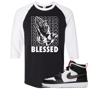 Air Jordan 1 High React White Black Sneaker Hook Up Blessed Praying Hands Black Raglan T-Shirt