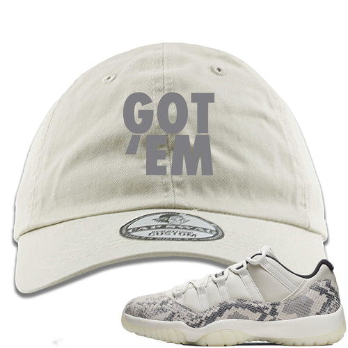 Air Jordan 11 Low Snakeskin Light Bone Sneaker Match Got Em Ivory Dad Hat