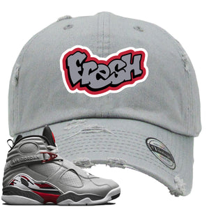 Air Jordan 8 Reflections of a Champion Sneaker Hook Up Fresh Logo Gray Distressed Dad Hat