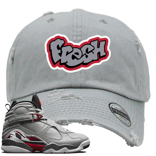 Air Jordan 8 Reflections of a Champion Sneaker Match Fresh Logo Gray Distressed Dad Hat
