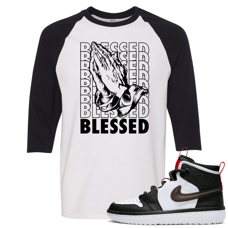 Air Jordan 1 High React White Black Sneaker Hook Up Blessed Praying Hands White Raglan T-Shirt