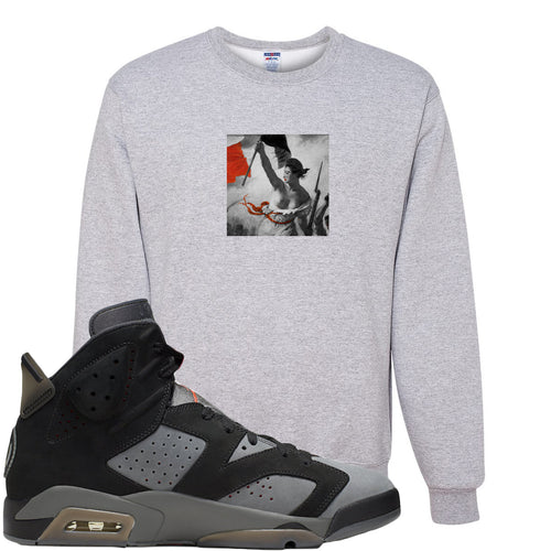 Air Jordan 6 PSG Sneaker Match Liberty Leading The People Sports Grey Sweater