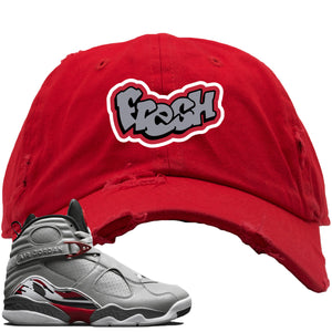 Air Jordan 8 Reflections of a Champion Sneaker Hook Up Fresh Logo Red Distressed Dad Hat