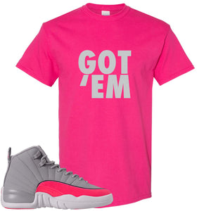 Air Jordan 12 GS Grey Pink Sneaker Hook Up Got Em Heliconia T-Shirt