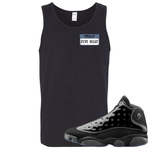 Air Jordan 13 Cap and Gown Sneaker Hook Up Hello My Name is Hype Beast Pablo Style Black Mens Tank Top