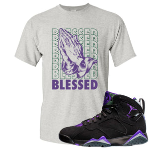 Air Jordan 7 Ray Allen Sneaker Hook Up Blessed Praying Hands Gray T-Shirt