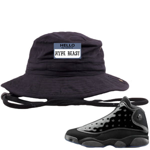 Air Jordan 13 Cap and Gown Sneaker Hook Up Hello My Name is Hype Beast Pablo Style Black Bucket Hat