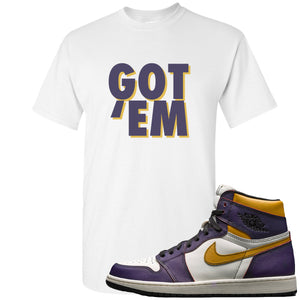 Nike SB x Air Jordan 1 OG Court Purple Sneaker Hook Up Got Em White T-Shirt