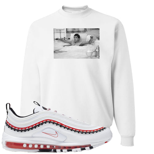Nike Air Max 97 White University Red Sneaker Match Bathtub Scarface White Sweater