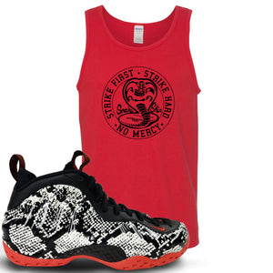 Foamposite One Snakeskin Sneaker Hook Up Cobra Snake Red Mens Tank Top