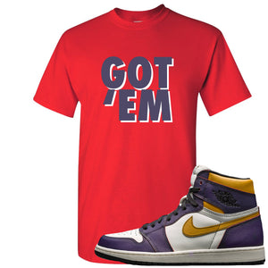 Nike SB x Air Jordan 1 OG Court Purple Sneaker Hook Up Got Em Red T-Shirt