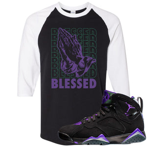 Air Jordan 7 Ray Allen Sneaker Hook Up Blessed Praying Hands Black and White Raglan T-Shirt