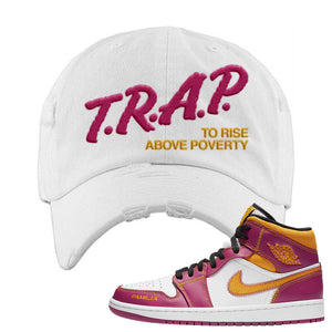 Air Jordan 1 Mid Familia Distressed Dad Hat | Trap To Rise Above Poverty, White