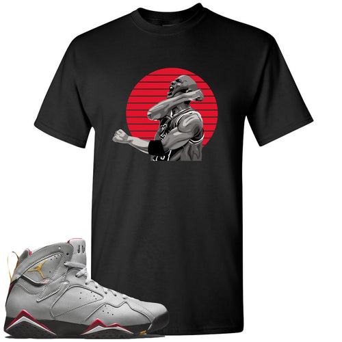 Air Jordan 7 Reflections of a Champion Sneaker Match Jordan Fist Pump Black T-Shirt