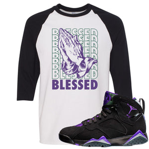 Air Jordan 7 Ray Allen Sneaker Hook Up Blessed Praying Hands White and Black Raglan T-Shirt