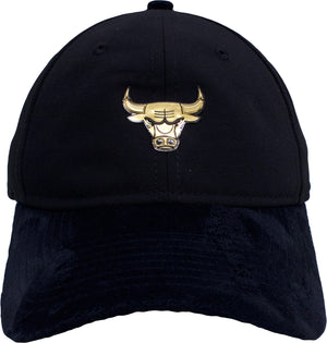 the chicago bulls black on court dad hat has a gold chicago bulls logo on the front and is solid black