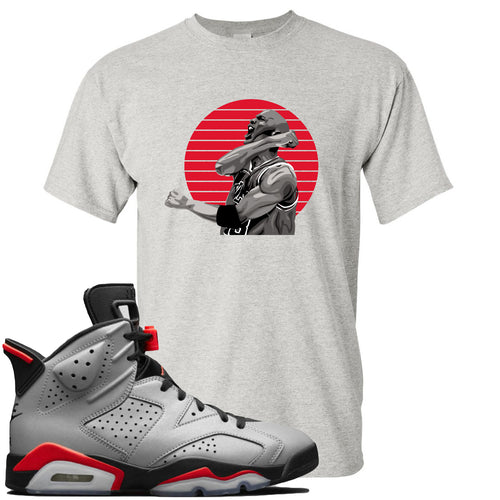 Air Jordan 6 Reflections of a Champion Sneaker Match Jordan Fist Pump Sports Gray T-Shirt