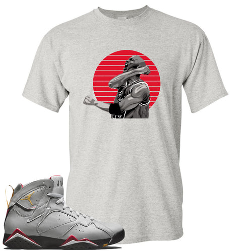 Air Jordan 7 Reflections of a Champion Sneaker Match Jordan Fist Pump Sports Gray T-Shirt