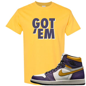 Nike SB x Air Jordan 1 OG Court Purple Sneaker Hook Up Got Em Yellow T-Shirt