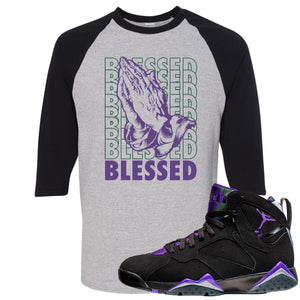 Air Jordan 7 Ray Allen Sneaker Hook Up Blessed Praying Hands Sports Gray and Black Raglan T-Shirt