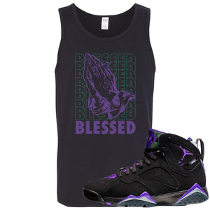 Air Jordan 7 Ray Allen Sneaker Hook Up Blessed Praying Hands Black Mens Tank Top