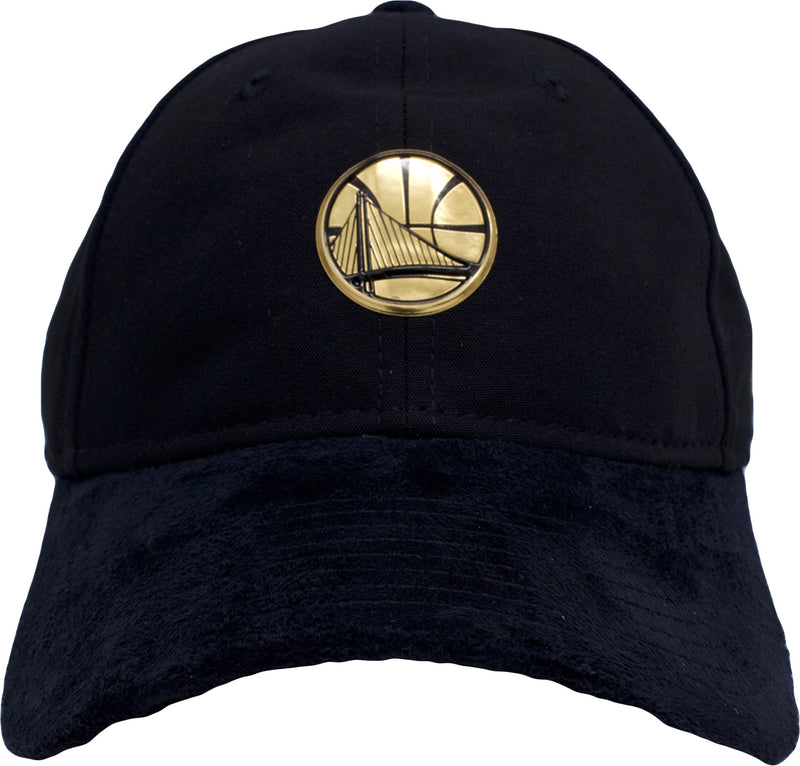 the golden state warriors black dad hat has a black crown, suede brim and a gold golden state warriors logo