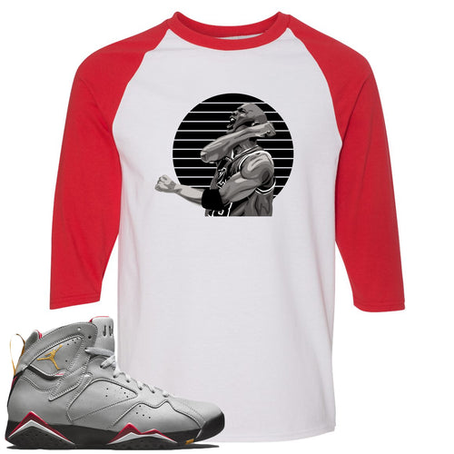 Air Jordan 7 Reflections of a Champion Sneaker Match Jordan Fist Pump White and Red Raglan T-Shirt