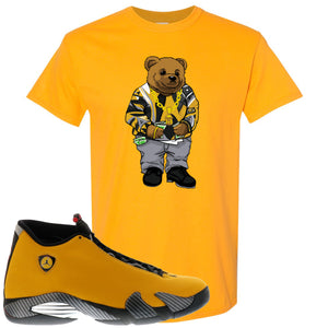 Reverse Ferrari 14s Sneaker Hook Up Biggie Bear Gold Yellow T-Shirt
