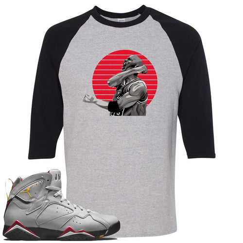 Air Jordan 7 Reflections of a Champion Sneaker Match Jordan Fist Pump Sports Gray and Black Raglan T-Shirt