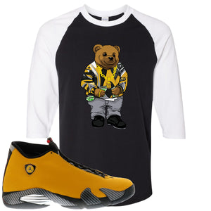 Reverse Ferrari 14s Sneaker Hook Up Biggie Bear Black and White Raglan T-Shirt