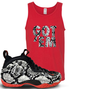 Foamposite One Snakeskin Sneaker Hook Up Got Em Red Mens Tank Top