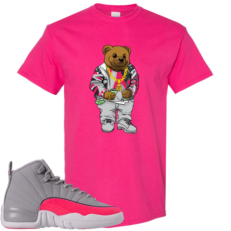 Air Jordan 12 GS Grey Pink Sneaker Hook Up Polo Biggie Heliconia T-Shirt