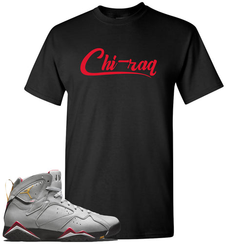 Air Jordan 7 Reflections of a Champion Sneaker Match Chi-raq Script Black T-Shirt