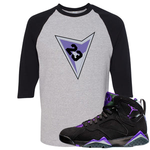 Air Jordan 7 Ray Allen Sneaker Hook Up Triangle Design with 23 Sports Gray and Black Raglan T-Shirt