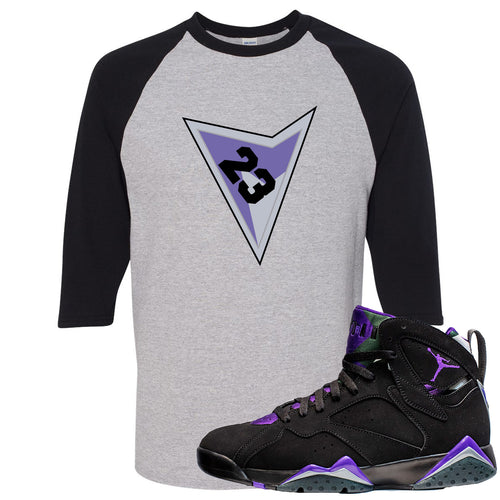 Air Jordan 7 Ray Allen Sneaker Match Triangle Design with 23 Sports Gray and Black Raglan T-Shirt