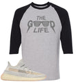 Adidas Yeezy Boost 350 v2 Lundmark Sneaker Hook Up The Good Life Sports Grey and Black Raglan T-Shirt