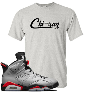Air Jordan 6 Reflections of a Champion Sneaker Hook Up Chi-raq Script Sports Gray T-Shirt